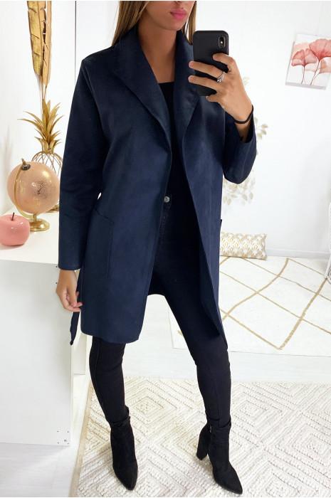 veste en suédine marine avec col revers
