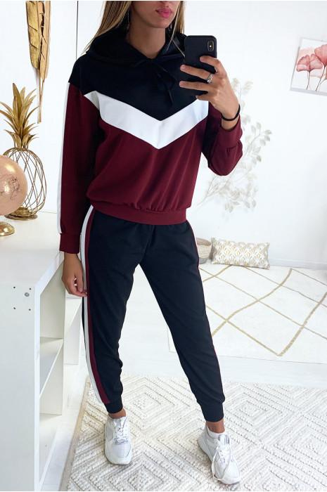 Ensemble jogging tri color très tendance avec capuche et poche