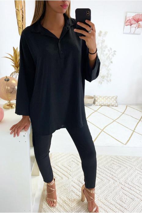 Superbe ensemble pantalon cigarette et tunique fashion en noir