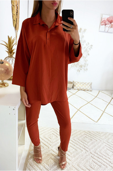 Superbe ensemble pantalon cigarette et tunique fashion en cognac