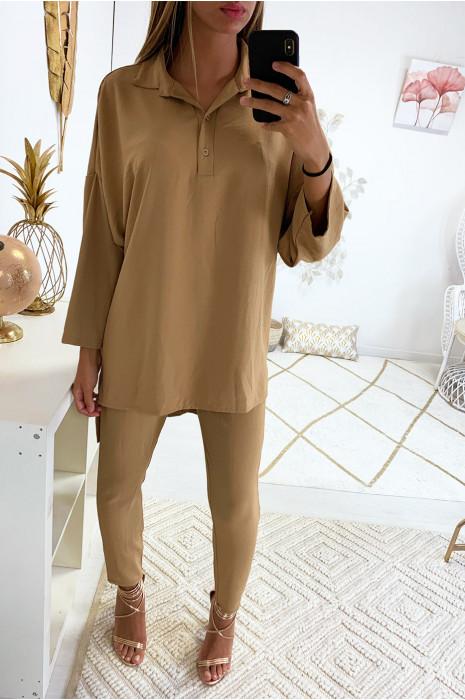Superbe ensemble pantalon cigarette et tunique fashion en camel