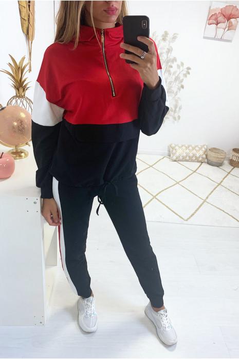Jolie survêtement rouge tricolor avec zip dorée