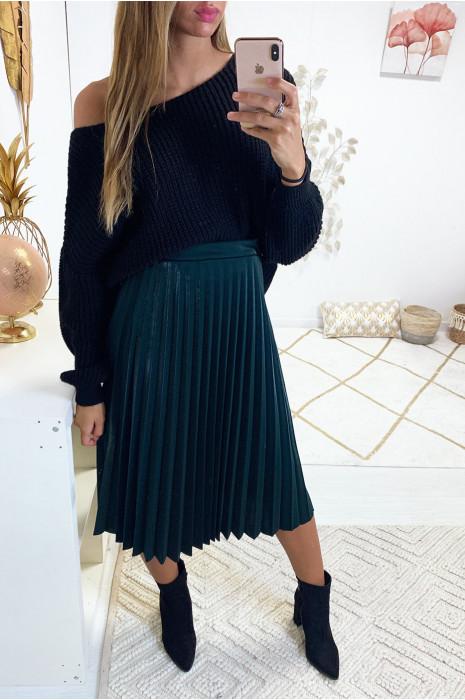 jupe tendance plissée vert canard effet satin