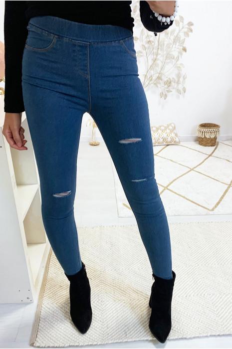 Jegging bleu jeans déchiré à l'avant. Mode femme 301