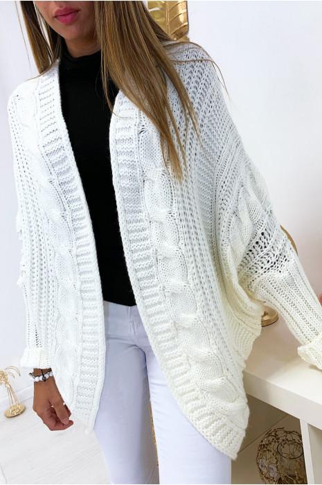 Magnifique gilet blanc bien épais et ample coupe chauve souris.