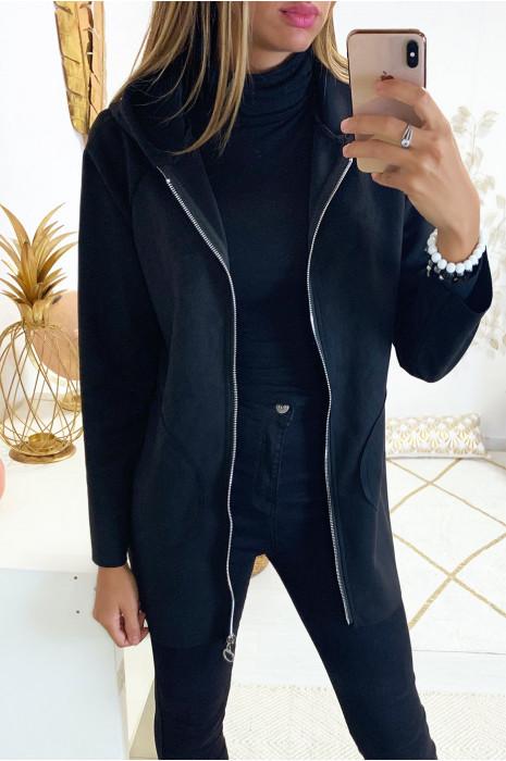 Jolie veste zippé en suédine noir avec poche et capuche