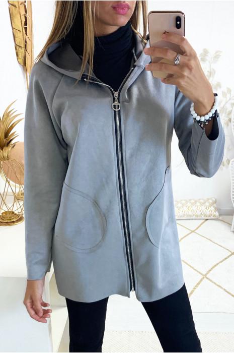 Jolie veste zippé en suédine grise avec poche et capuche