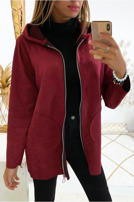 Jolie veste zippé en suédine bordeaux avec poche et capuche
