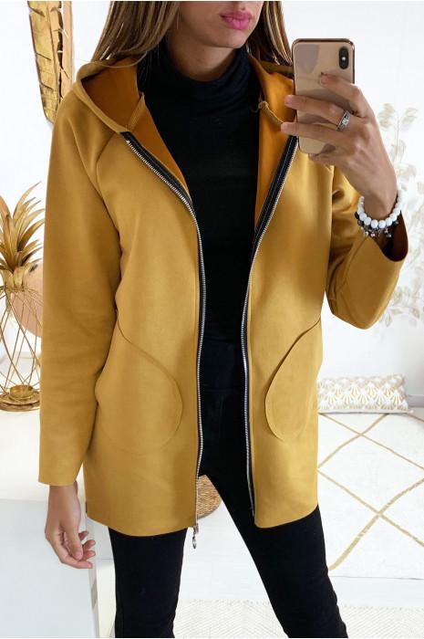 Jolie veste zippé en suédine moutarde avec poche et capuche