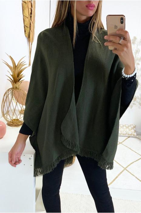 Cape kaki très fashion avec frange