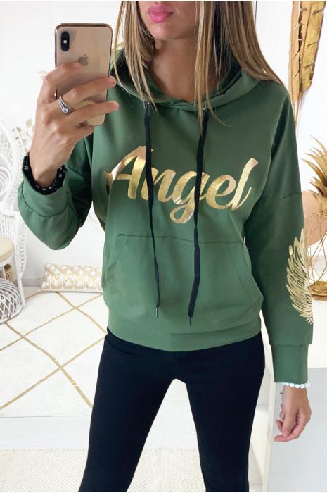 Sweat à capuche kaki avec écriture angel en doré à l'avant et aigle aux manches