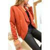 Jolie veste blazer en suédine cognac avec col revers. Mode femme fashion