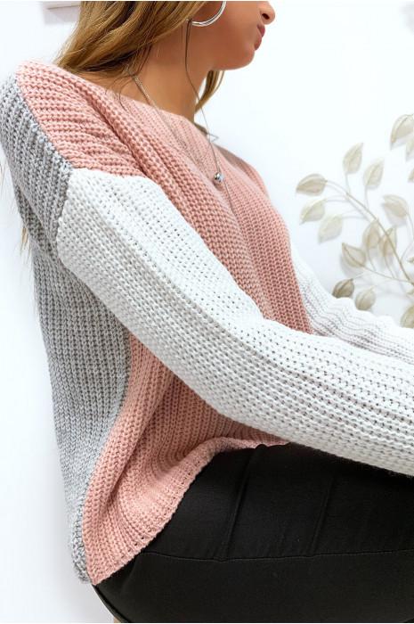 Magnifique pull tri color en rose et gris