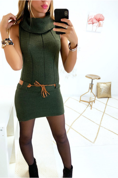 Sublime robe pull kaki col tombant avec ceinture