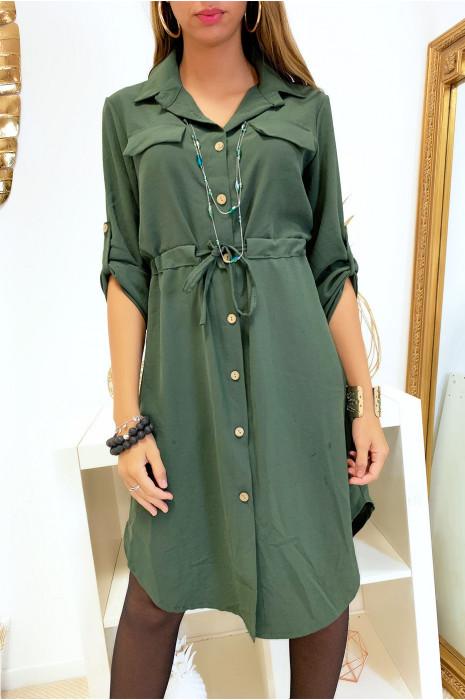 Longue robe chemise kaki boutonné avec ceinture