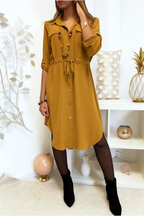 Longue robe chemise moutarde boutonné avec ceinture