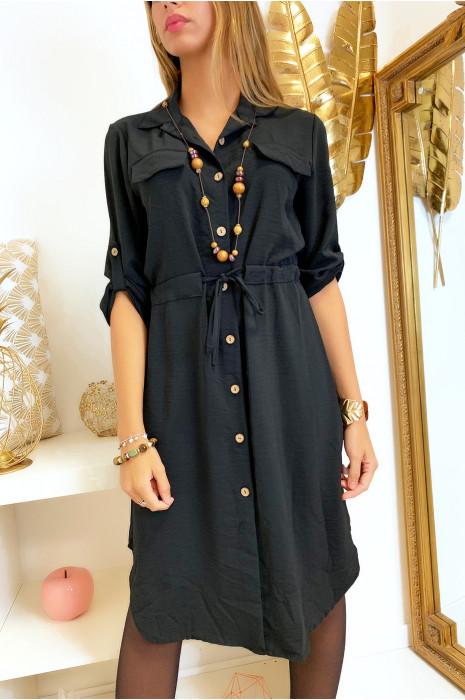 Longue robe chemise noir boutonné avec ceinture