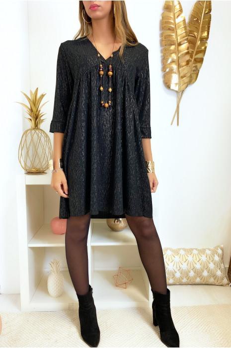 Magnifique robe tunique noir en col V avec files doré