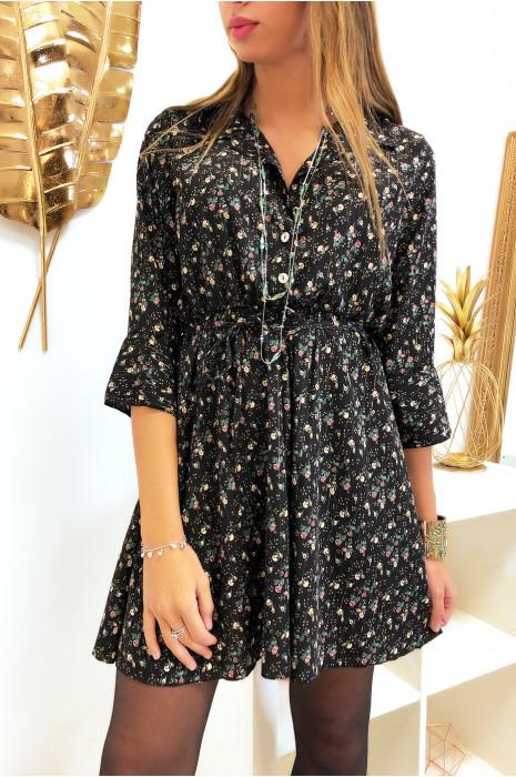 Robe chemise motif fleuris en couleur noir