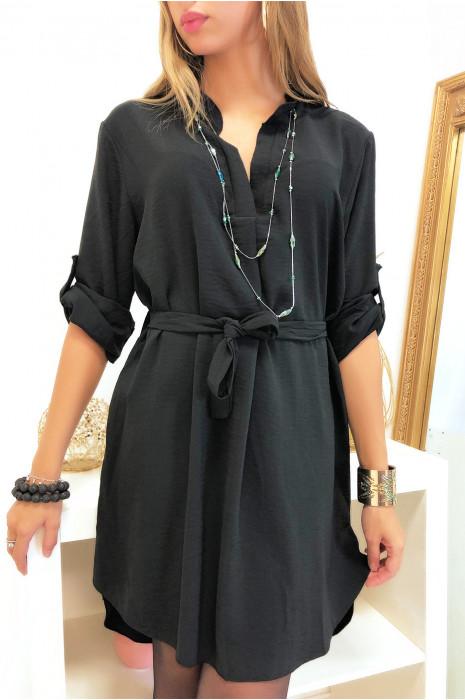 Robe tunique noir en col V avec manches retroussable