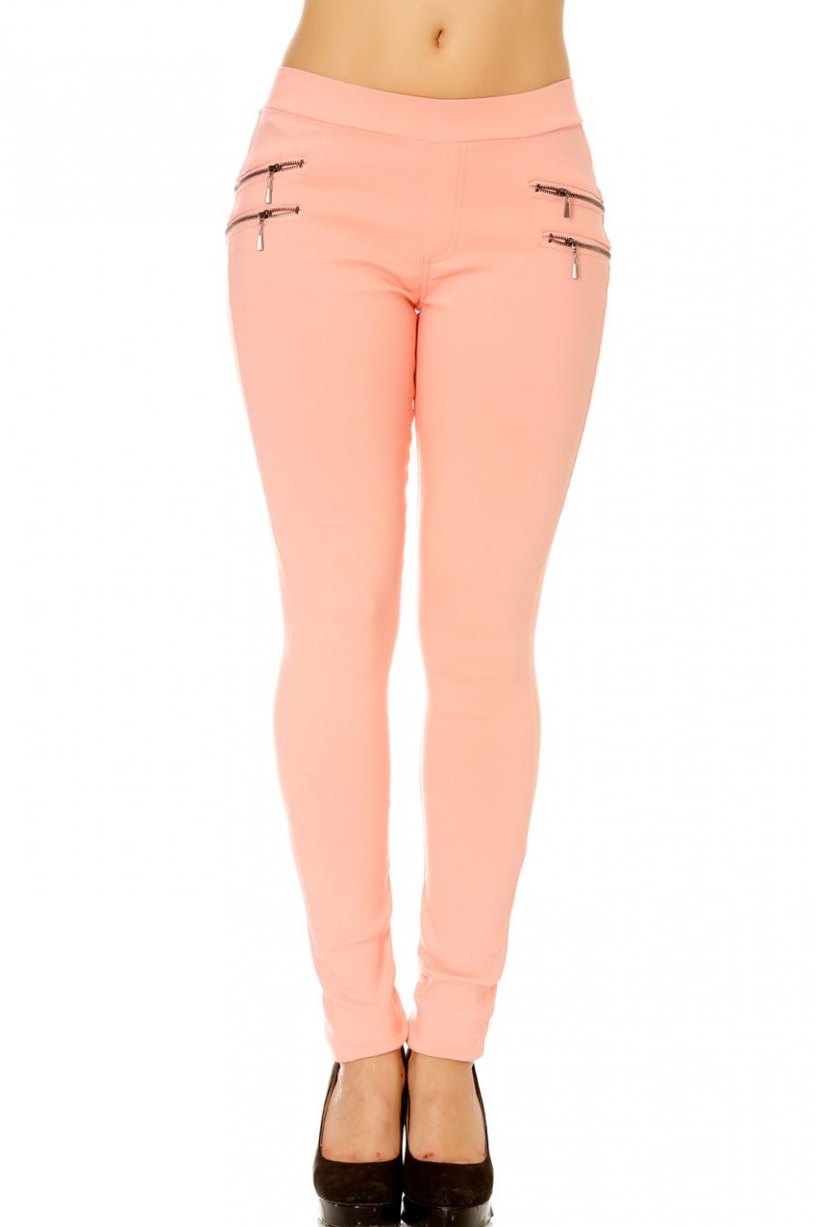 Pantalon jeans rose avec double zip sur les cotes. Jeans femme rose 162