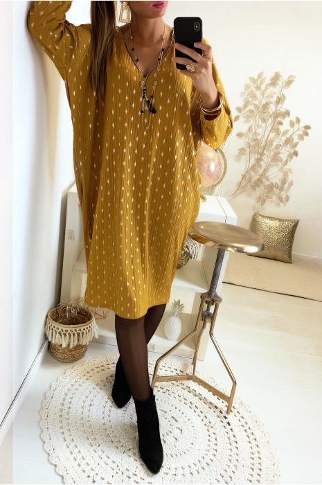 Magnifique robe tunique ample en moutarde avec motif losange doré et zip au col