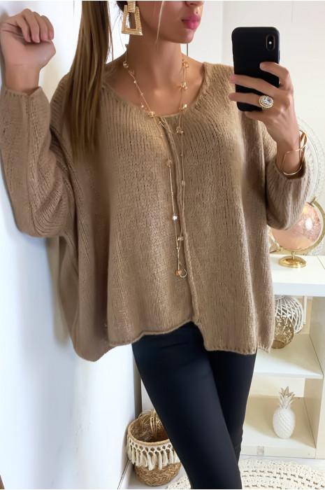 Magnifique pull camel et ample très doux coupe chauve souris
