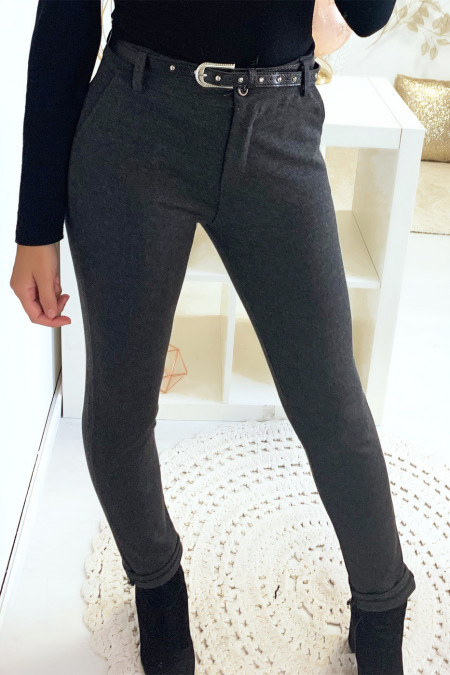 Beautiful anthracite slim pants with pockets and belt