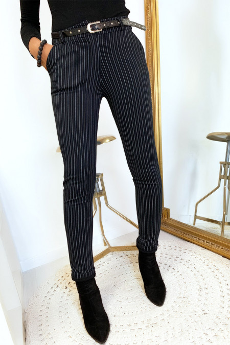 Black striped skinny pants with pockets and belt