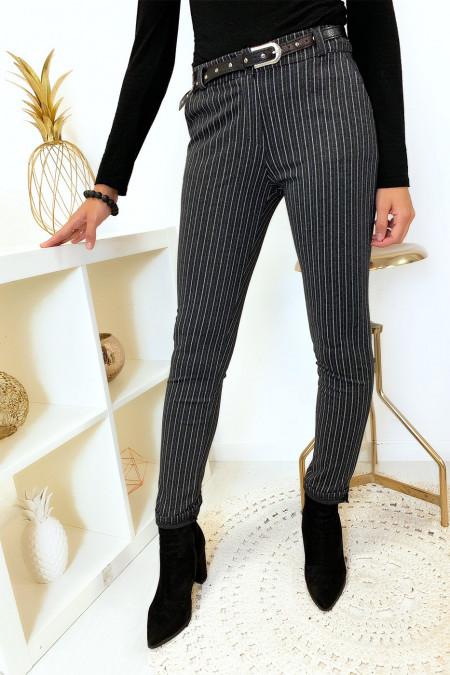 Pantalon slim anthracite rayé avec poches et ceinture