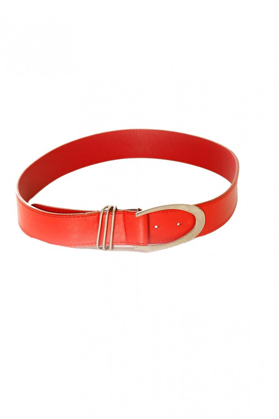 Basic Rode riem met zilveren gesp. BG-P0Z9