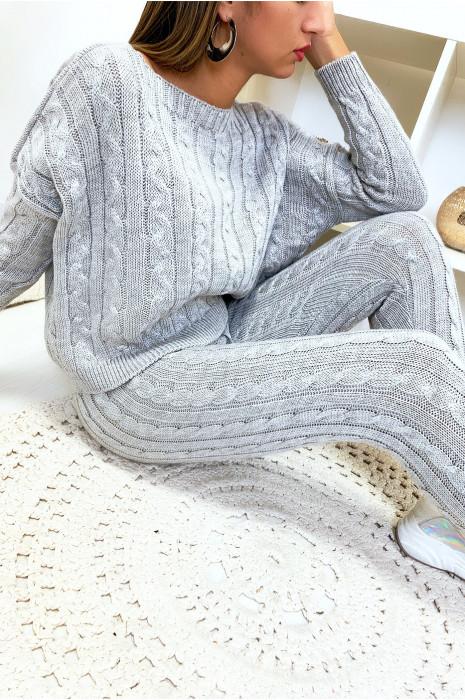 Ensemble pull ample et joggings gris en maille tressé très fashion