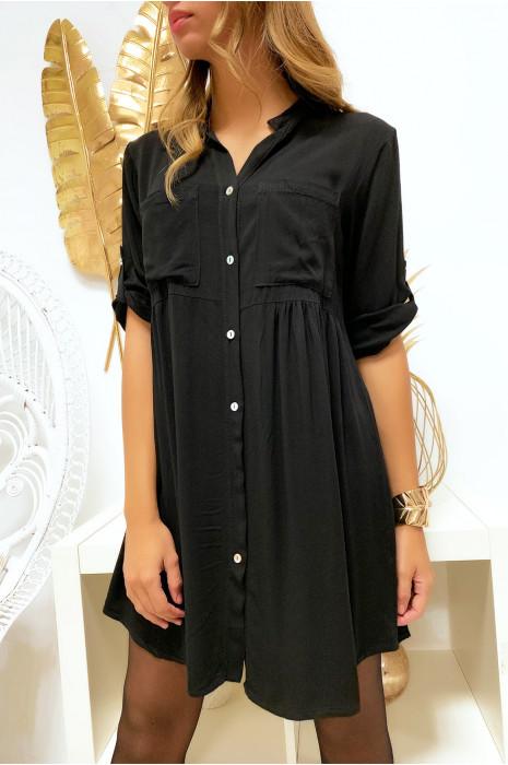 Magnifique robe tunique noir boutonné avec poche et fronce à la taille