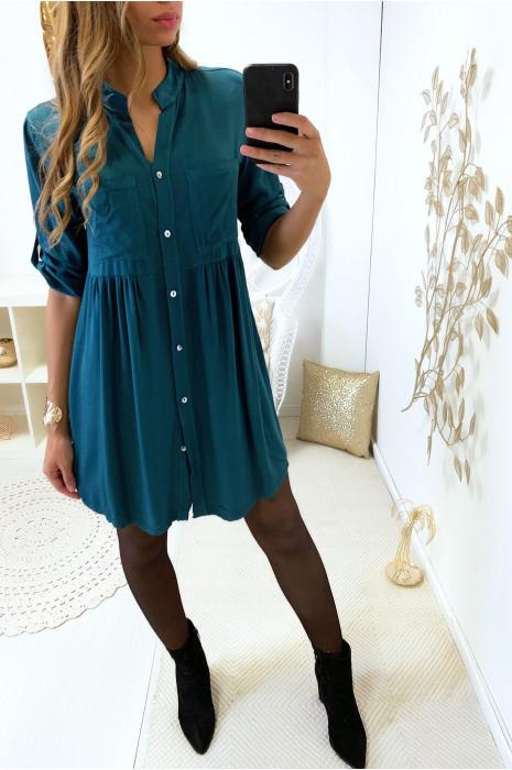 Magnifique robe tunique canard boutonné avec poche et fronce à la taille