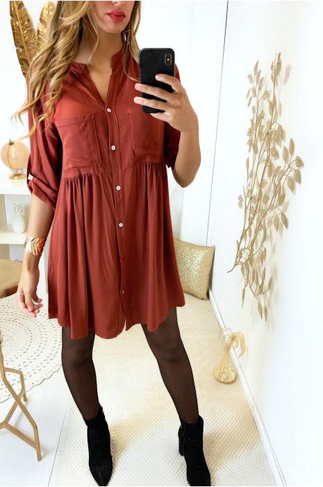 Magnifique robe tunique bordeaux boutonné avec poche et fronce à la taille