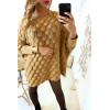 Robe pull camel ample très fashion tressé en forme de feuille