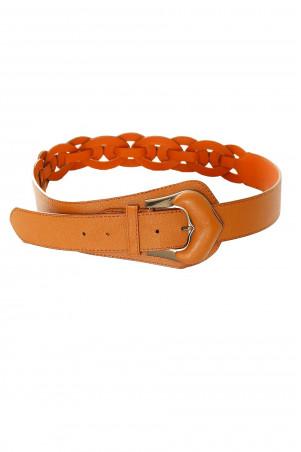 Asymmetric Camel braided belt with silver buckle. BG-0517