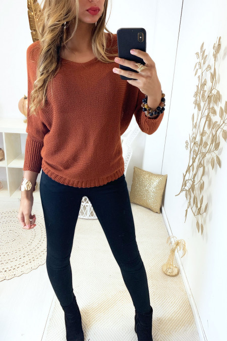 Cognac knit boat neck sweater and bat sleeve. 16300