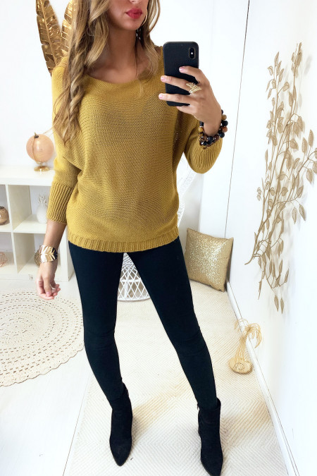 Mustard knit boat neck sweater and bat sleeve. 16300