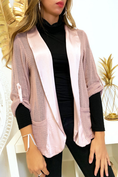 Pretty pink jacket with roll-up sleeves with satin collar