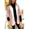 Mooi roze jasje met oprolbare mouwen met satijnen kraag