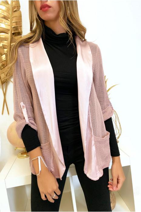 Jolie veste rose a manches retroussables avec col satin