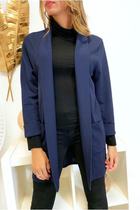 Longue veste blazer marine avec poche