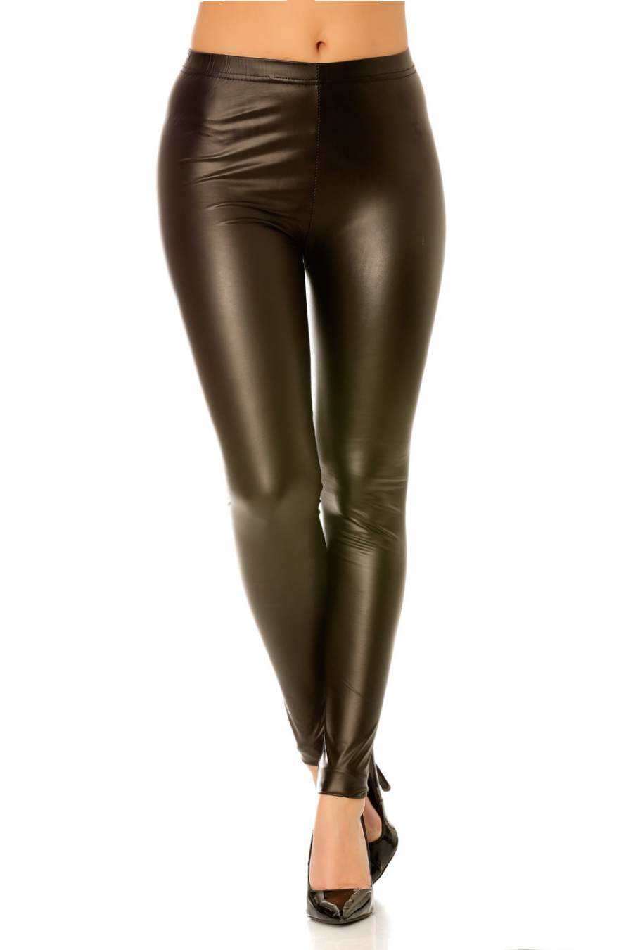 Black imitation leather low waist leggings. 9909