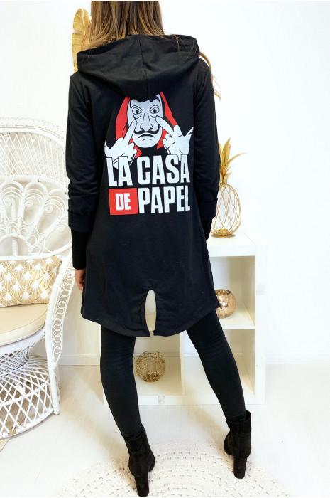Magnifique gilet à capuche noir en coton avec fente au dos et écriture casa de papel