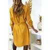 Jolie robe tunique moutarde col V avec ceinture et manches revers