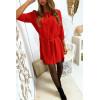Jolie robe tunique rouge col V avec ceinture et manches revers