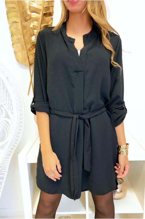 Jolie robe tunique noir col V avec ceinture et manches revers