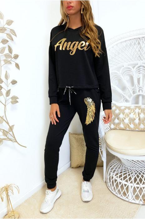 Ensemble jogging noir avec écriture angel en doré