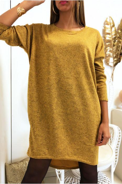 Robe sweat moutarde avec poche